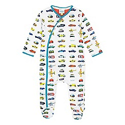 Baker by Ted Baker - Baby boys' white vehicle print sleepsuit
