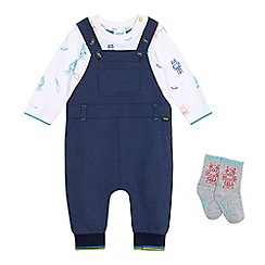 Baker by Ted Baker - Baby boys' navy dungarees, robot print top and socks set
