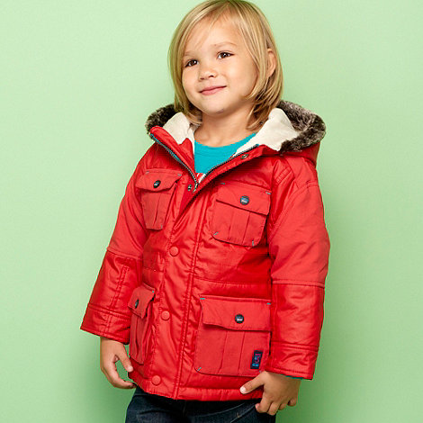 Baker by Ted Baker - Boy+s red waxed parka coat