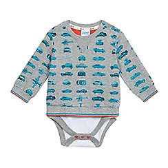 Baker by Ted Baker - Baby boys' grey car print sweatshirt bodysuit