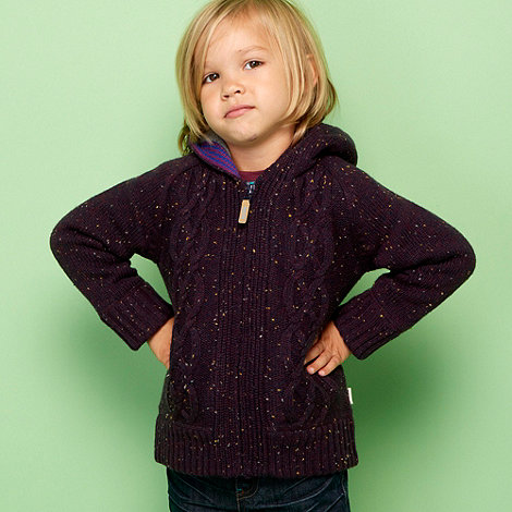 Baker by Ted Baker - Boy+s purple cable knitted hoodie