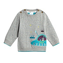 Baker by Ted Baker - Baby boys' grey spaceship applique jumper