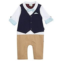 Baker by Ted Baker - Baby boys' navy mock shirt and chinos romper suit