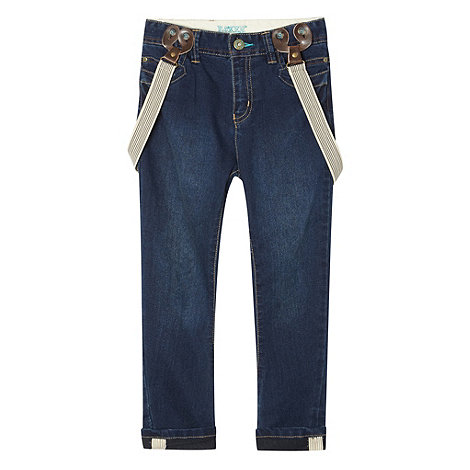Baker by Ted Baker - Boy+s blue carrot leg jeans with detachable braces
