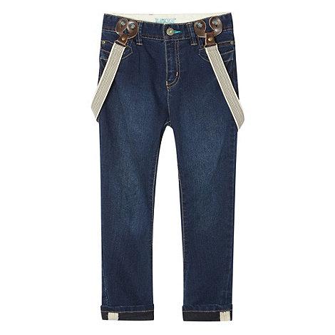 Baker by Ted Baker - Boy+s blue carrot leg jeans with detachable braces