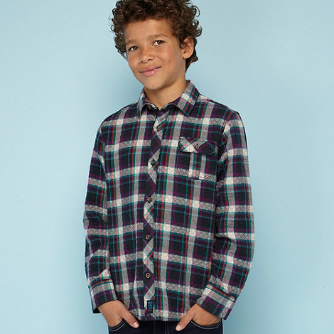 Baker by Ted Baker - Boy+s purple quilted checked shirt