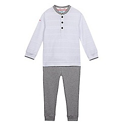 Baker by Ted Baker - Boys' white textured striped top and grey jogging bottoms set