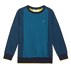 Baker by Ted Baker - Boys' dark turquoise front panel jumper with Merino wool