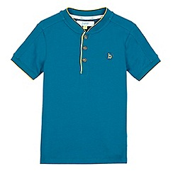 Baker by Ted Baker - Boys' dark turquoise logo button neck t-shirt