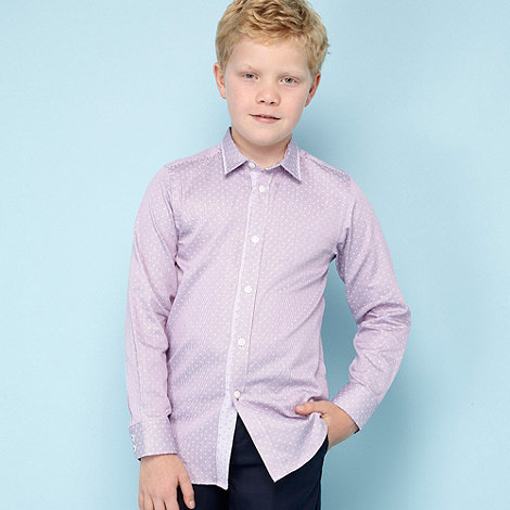 Baker by Ted Baker - Boy+s lilac jacquard striped shirt