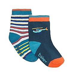 Baker by Ted Baker - Pack of two baby boys' multi-coloured striped and helicopter print socks