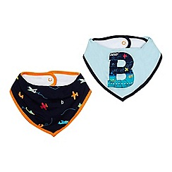 Baker by Ted Baker - Pack of two baby boys' navy and light blue printed bibs