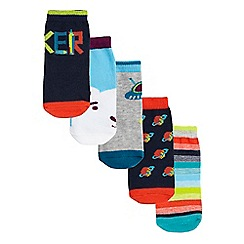 Baker by Ted Baker - Pack of five baby boys' multi-coloured patterned socks in a gift box
