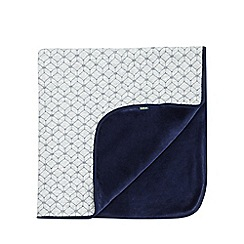 Baker by Ted Baker - Boys' grey and navy geometric quilted velour blanket