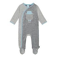 Baker by Ted Baker - Baby boys' grey bear applique velour sleepsuit