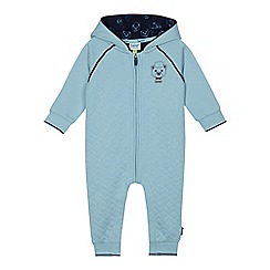 Baker by Ted Baker - Baby boys' light blue quilted bear print snugglesuit