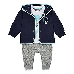Baker by Ted Baker - Baby boys' white bear applique t-shirt, navy jacket and grey quilted jogging bottoms set