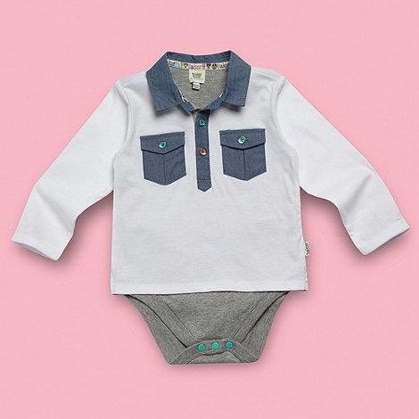 Baker by Ted Baker - Babies white long sleeved polo shirt bodysuit