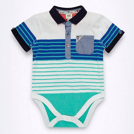 Baker by Ted Baker - Babies blue striped polo bodysuit