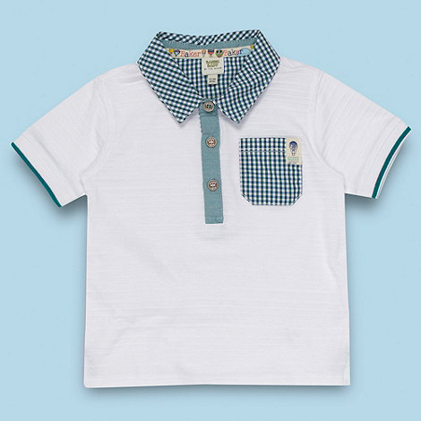 Baker by Ted Baker - Babies white pique striped polo shirt