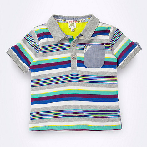 Baker by Ted Baker - Babies grey multi striped polo shirt