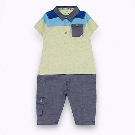 Baker by Ted Baker - Babies blue polo shirt all-in-one
