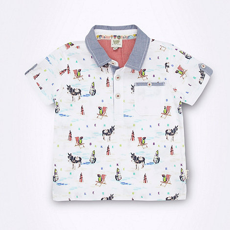 Baker by Ted Baker - Babies white beach patterned polo shirt