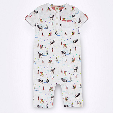 Baker by Ted Baker - Babies white donkey print romper suit