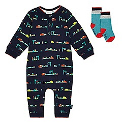 Baker by Ted Baker - Baby boys' navy train print romper suit and colour block socks set