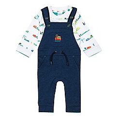 Baker by Ted Baker - Baby boys' navy dungarees and train print shirt set