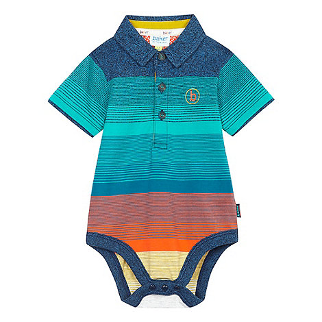 Baker by Ted Baker - Boy+s turquoise multi stripe polo top