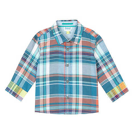 Baker by Ted Baker - Boy+s blue checked chambray shirt