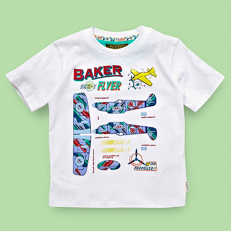Baker by Ted Baker - Boy+s white model aeroplane t-shirt