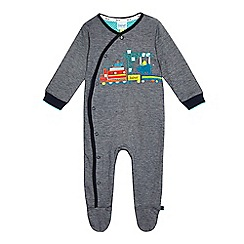 Baker by Ted Baker - Baby boys' navy fine striped train applique sleepsuit