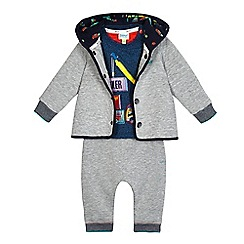 Baker by Ted Baker - Baby boys' navy vehicle applique top, grey jacket and jogging bottoms set