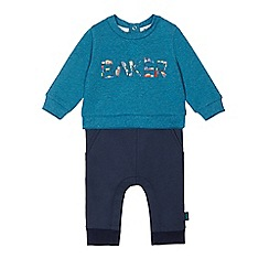 Baker by Ted Baker - Baby boys' blue mock jumper and joggers onesie