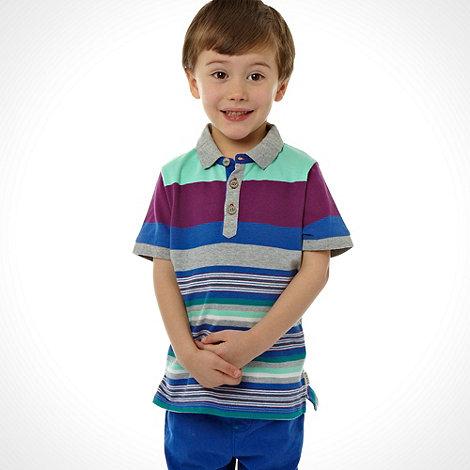 Baker by Ted Baker - Boy+s grey multi striped jersey polo shirt