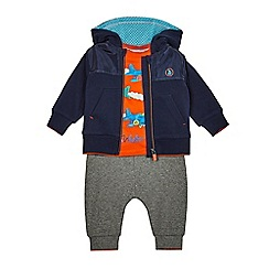 Baker by Ted Baker - Baby boys' navy jacket, orange plane print t-shirt and grey jogging bottoms set