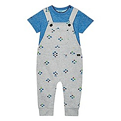 Baker by Ted Baker - Baby boys' grey car print dungaree and top set