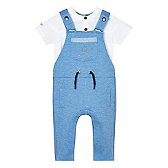 Baker by Ted Baker - Baby boys' blue dungaree and texture striped top set