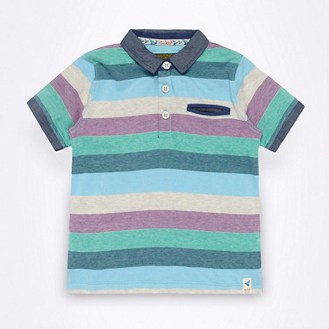 Baker by Ted Baker - Boy+s blue multi striped polo shirt