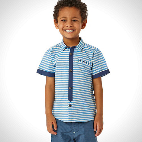 Baker by Ted Baker - Boy+s blue textured striped shirt