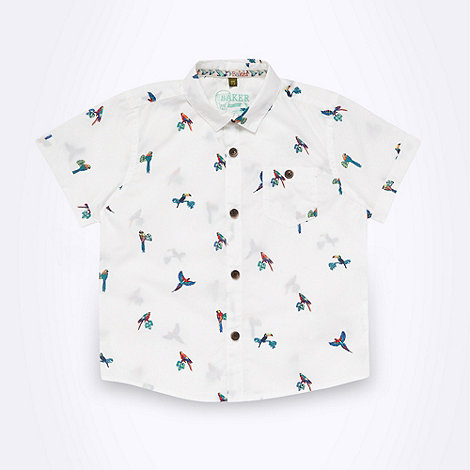 Baker by Ted Baker - Boy+s white parrot printed shirt