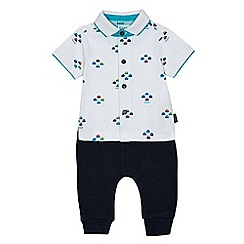 Baker by Ted Baker - Baby boys' multi-coloured printed shirt and jogging bottoms romper suit