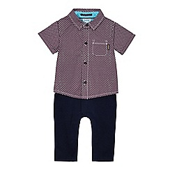 Baker by Ted Baker - Baby boys' purple geometric print mock romper suit