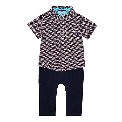 Baker by Ted Baker - Baby boys+ purple geometric print mock romper suit
