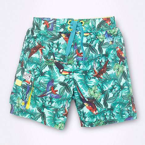 Baker by Ted Baker - Boy+s green jungle swim shorts