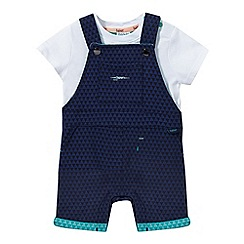 Baker by Ted Baker - Baby boys' navy printed dungarees and romper suit