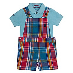 Baker by Ted Baker - Baby boys' multi-coloured checked dungarees and polo shirt set