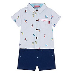 Baker by Ted Baker - Baby boy's white parrot print shirt and navy shorts set
